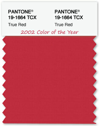 Color Swatch Pantone color of the year 2002 True Red
