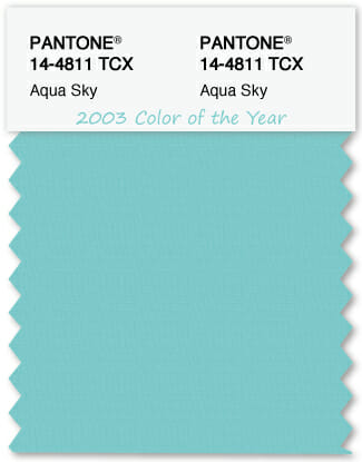 Color Swatch Pantone color of the year 2003 Aqua Sky