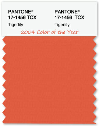 Color Swatch Pantone color of the year 2004 Tigerlily