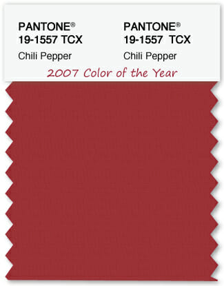 Color Swatch Pantone color of the year 2007 Chili Pepper