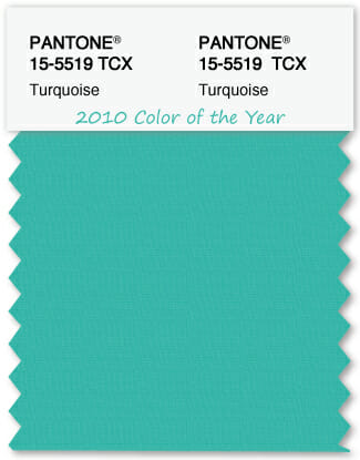 Color Swatch Pantone color of the year 2010 Turquoise