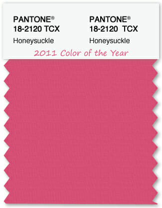 Color Swatch Pantone color of the year 2011 Honeysuckle