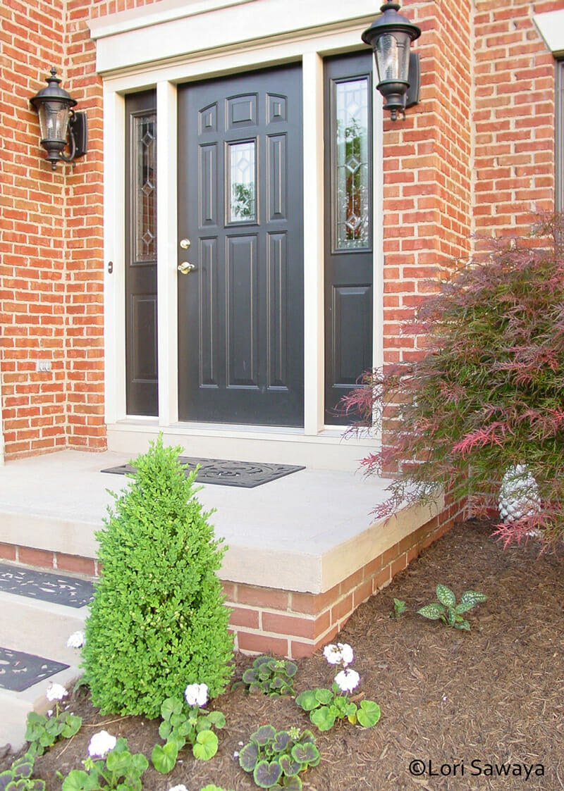 Front-Porch-black door sherwin williams tricorn black Exterior Curb Appeal